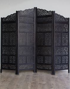 New Black Carved Wooden Moroccan Screen Divider Four Panel #Moroccan