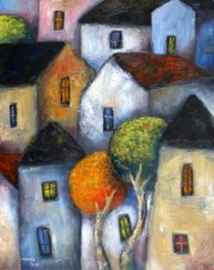 Urbanscape 4 Created By Jeremy Mayes Posted By Maher & Valentino Tableau Pop Art, Naive Art, Whimsical Art, Acrylic Art, Art Sketchbook, Landscape Art, Painting Inspiration, Watercolor Paintings, Flower Paintings