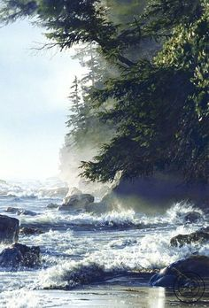 """Afternoon High Tide"" watercolor by artist Carol Evans. Waves crash on the rocky beach, beautiful evergreen trees overhead in misty light. Art Aquarelle, Watercolor Artists, Watercolor Landscape, Watercolour Painting, Landscape Art, Landscape Paintings, Watercolors, Painting Art, Amazing Art"