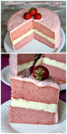 Strawberry Cheesecake Cake ~ Creamy cheesecake sandwiched between two layers of strawberry cake with a strawberry-cream cheese frosting...
