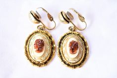 """Vintage Cameo Dangle Earrings Clip On Gold Tone Victorian Style Delicate Retro Costume Jewelry 1.5"""" by DecoOwl on Etsy"""