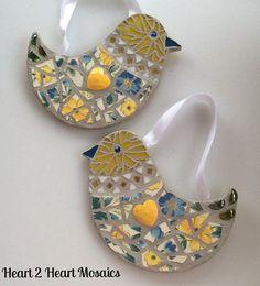 Two Heart to Heart Yellow Love Birds by Heart2HeartMosaics on Etsy, $40.00