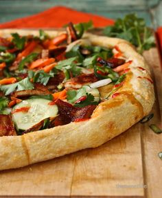 Bánh mì Pizza by The Sweet Life - season the quick pickled veggies with garlic and pepper