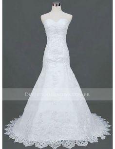 Embroidery Organza Mermaid Sweetheart Sleeveless Wedding Dress