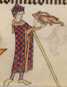 Acrobatic dog, from the Luttrell Psalter