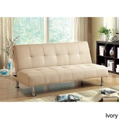 Furniture of America Willbry Spring Contemporary Flax Fabric Futon Sofa, blue/green/ivory - $449.99