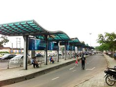 Advertising bus transfer station in Long Bien District, Hanoi