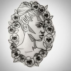 black and white pansy tattoo - Google Search