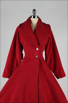 ~Vintage 1950s Red Wool Fit & Flare Princess Coat | From a collection of rare vintage jackets~      at http://www.1stdibs.com/fashion/clothing/jackets/