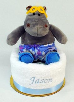 Personalised baby wrap nappy cake two cotton muslin baby wraps embroidered nappy cake baby boy hippo embroidered nappy cakes embroidered baby gifts personalised negle Gallery