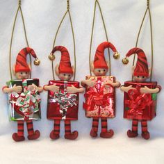Red Christmas Elf Ornament by ClayItAgain on Etsy, $10.00