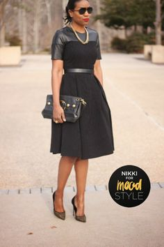Brocade and leather black dress made with fabric from Mood Fabrics and McCalls pattern 5927. #moodfabrics
