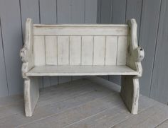 Antique Hand Painted Pitch Pine Church Pew