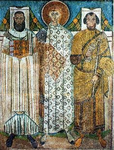 Mosaic icon of Saint Demetrios with the two founders of the church, the eparch (provincial governor) Leontios, and bishop Ioannis, 634-700, Thessalonike, basilica of Agios Demetrios. ☩