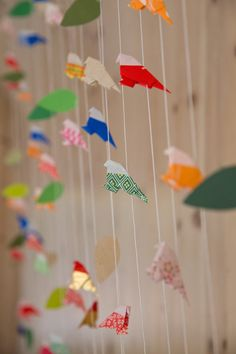 Origami bird banner at our A Frame wedding celebration Photo By Oliver and Michele