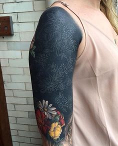 Flower Sleeve Tattoo Artist: Esther Garcia Chicago Black Oak