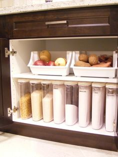 Using same-sized clear containers to store sugars, flours, and baking ingredients make it easy to tell when you're running low!   maillardvillemanor.com