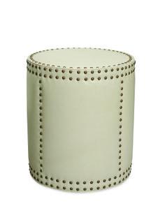 Lee leather drum ottoman in Kraven Cream
