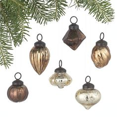 Mini Antiqued Metallic Ornaments Set of Six in 30% off Holiday Sale   Crate and Barrel
