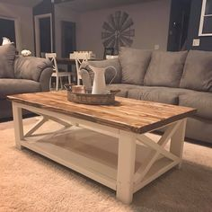 Coffee table design above is an extremely remarkable and also modern designs. Hope you get the idea or ideas for your modern coffee table. Diy Coffee Table, Decor, Farm House Living Room, Decorating Coffee Tables, Coffee Table Decor Living Room, Wooden Coffee Table Designs, Living Decor, Table Decor Living Room, Woodworking Furniture Plans