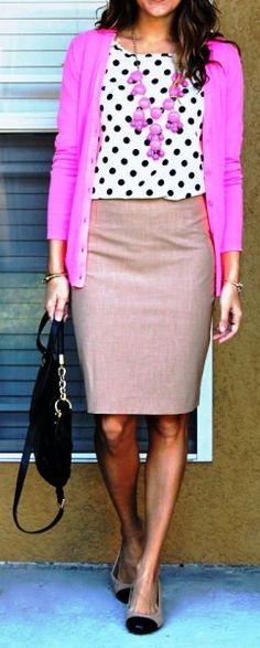 Love this look. Classic skirt topped by an unexpected polka dot top topped by a hot colored sweater! #PersonalLeadership #Women