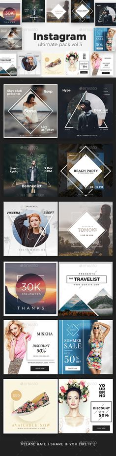 Instagram Ultimate Pack Vol 3 #photoshop #psd #business #instagram • Download ➝ https://graphicriver.net/item/instagram-ultimate-pack-vol-3/18688289?ref=pxcr