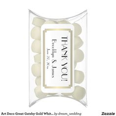 Art Deco Great Gatsby Gold White Wedding Favors Chewing Gum Favors