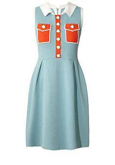 Color Block Half Milano Sleeveless Dress Cloud