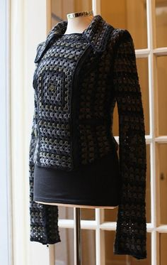 Christopher Kane cashmere #crochet granny square biker jacket