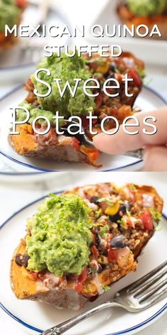 These Mexican Quinoa STUFFED Sweet Potatoes are the ultimate plant-based meal! Packed with fiber and protein they're filling tasty and easy to make! Easy healthy and so delicious. Stuffed with black beans quinoa guacamole and more healthy ingredients! Vegan Dinner Recipes, Veggie Recipes, Mexican Food Recipes, Whole Food Recipes, Cooking Recipes, Healthy Recipes, Soup Recipes, Paleo Meals, Paleo Food