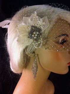 Birdcage Veil Bridal Veil and Bridal Clip Bandeau by IceGreenEyes
