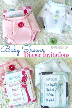 DIY Baby Shower Felt Diaper Invitations made out of felt cut with a metal die and the pocket invitations are created with Silhouette Print & Cut. Such a…