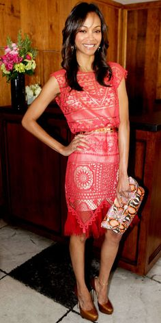 Zoe Saldana hit The Hollywood Reporter's 25 Most Powerful Stylists luncheon in a bright openwork Alexis Mabille haute couture dress with a colorful clutch and bronze pumps, both by Jimmy Choo. Zoe Saldana, Celebrity Red Carpet, Celebrity Look, Tall Girl Fashion, Birthday Fashion, Haute Couture Dresses, Queen, Affordable Fashion, Pretty Dresses