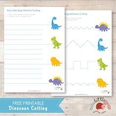 Imprimible gratis: Practicar el recorte con tijeras siguiendo las lineas que llegan hasta los dinosaurios >> Dinosaur cutting activity free printable