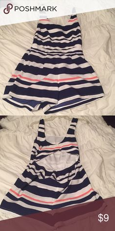 Romper Charlotte Russe romper. Navy, white and pink stripes. Cutout back. Perfect for spring/summer! Charlotte Russe Other