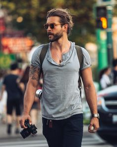 hair and beard styles Jack Greystone ( Look Man, Hair And Beard Styles, Mens Long Hair Styles, Men Long Hair, Stylish Mens Outfits, Poses For Men, Hommes Sexy, Man Bun, Grunge Hair