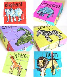DIY animal block puzzle craft from your kids' old blocks