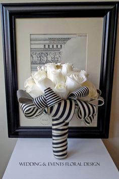 Beautiful Ivory Silk Rose Bouquet with Brooch Embellishment and Luxury Black & Ivory Stripe Wrap