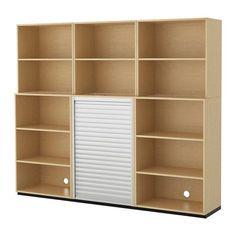 Ikea Storage combination with rollfront birch veneer 94 12x78 34  8202