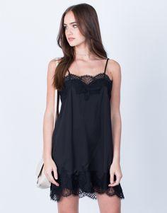 Satin Lace Slip Dress