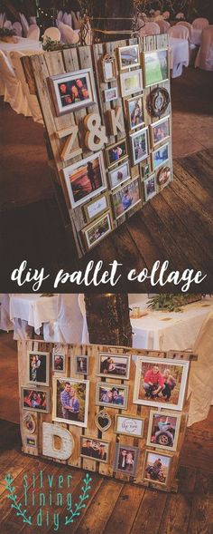 Pallet Tables Projects DIY your Christmas gifts this year with 925 sterling silver photo charms from GLAMULET. they are compatible with Pandora bracelets. DIY Wedding Pallet Collage - Silver Lining DIY Deco Champetre, Pallet Wedding, Wedding Rustic, Trendy Wedding, Wedding Ideas With Pallets, Pallet Projects, Diy Pallet, Pallet Ideas, Pallet Designs