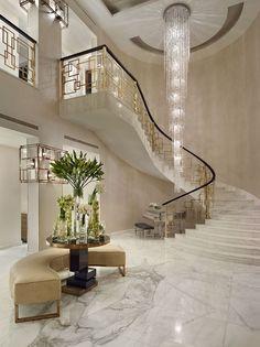 Stunning modern entry * See more Marble inspirations at http://www.brabbu.com/en/inspiration-and-ideas/ #LivingRoomFurniture, #ModernHomeDécor, #MarbleDécorIdeas