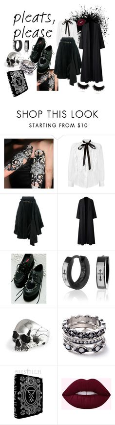 """Darkness overboard"" by darcia-mirror ❤ liked on Polyvore featuring Marc Jacobs, Sacai, Demonia, Bling Jewelry, WithChic, shu uemura and pleats"