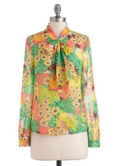 Memories Pastel Top - Multi, Yellow, Blue, Purple, Pink, Floral, Long Sleeve, Tie Blouse, Mid-length, Sheer, Casual, 70s, Fall