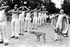 Brothers of the Omega Psi Phi Fraternity in step routine - 0021721 - NCSU Libraries' Rare and Unique Digital Collections | NCSU Libraries' Rare and Unique Digital Collections