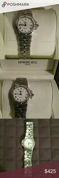 RAYMOND WEIL WATCH Fabulous in mint condition Raymond Weil watch. Beautiful antique side setting. Comes with original box. Give away deal! Raymond Weil Accessories Watches