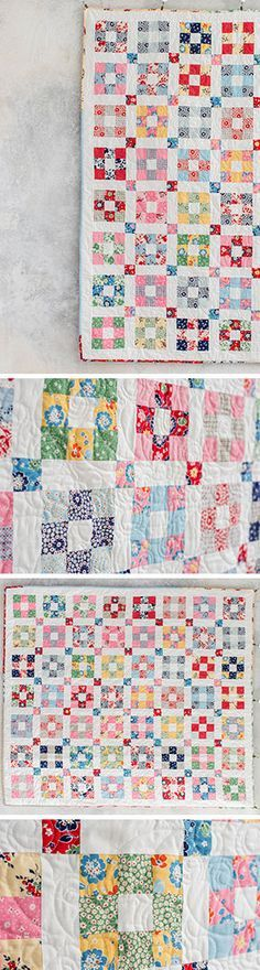 Give these classic 1930's prints a modern twist! The Hopscotch pattern combines quick and easy 9-patch blocks with fresh sashing blocks, for a darling finished project.