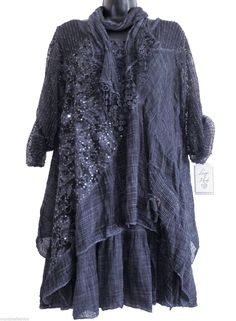 BN WOMENS QUIRKY ITALIAN LAGENLOOK LAYERED 3 PIECE LONG LACE CROCHET TUNIC DRESS in Clothing, Shoes & Accessories, Women's Clothing, Dresses | eBay
