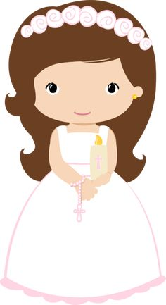First Communion. Girl with candle and rosary