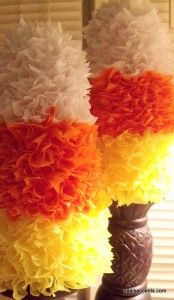 tissue paper candy corn decor... I'm seriously contemplating a Fall playdate party for the munchkin!